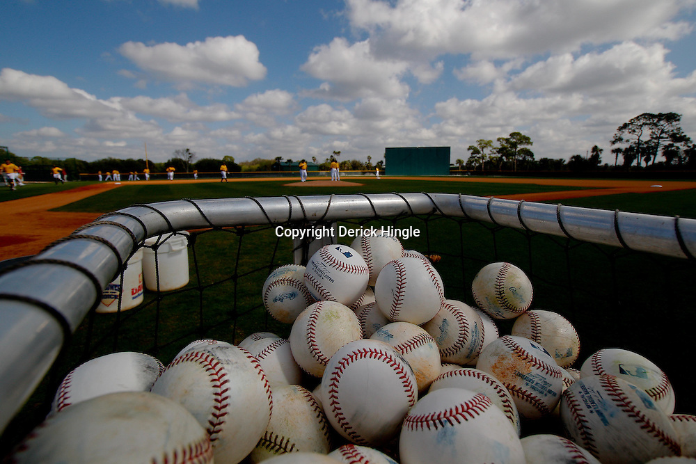February 21, 2011; Bradenton, FL, USA; A detailed view of baseballs in a basket during Pittsburgh Pirates spring training at Pirate City minor league training complex.  Mandatory Credit: Derick E. Hingle