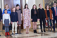 Queen Letizia of Spain attends an audience to a representation of the Association 'VISUAL TEAF' at Zarzuela Palace on February 21, 2020 in Madrid, Spain