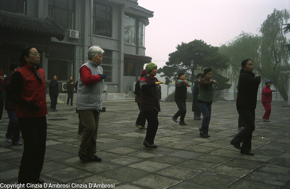 Early morningTai chi in a park in Beijing, China.