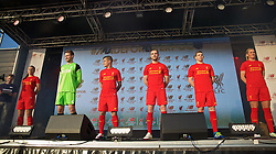 LIVERPOOL, ENGLAND - Monday, May 9, 2016: Liverpool's Natasha Harding, goalkeeper Simon Mignolet, Philippe Coutinho Correia, captain Jordan Henderson, Jon Flanagan and Gemma Bonner at the launch of the New Balance 2016/17 Liverpool FC kit at a live event in front of supporters at the Royal Liver Building on Liverpool's historic World Heritage waterfront. (Pic by Lexie Lin/Propaganda)