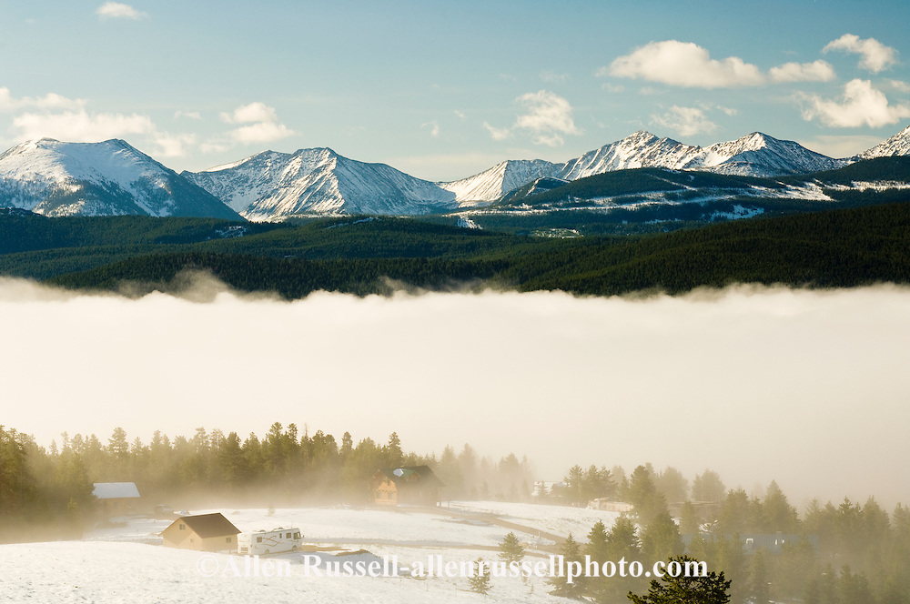 fog in Spring over Georgetown Lake, Philipsburg Bay, Anaconda Pintler Mountains,  continental divide, Pintler Scenic Route, Hwy 1 Montana first state hwy
