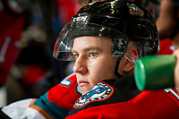 KELOWNA, BC - OCTOBER 12: Kyle Topping #24 of the Kelowna Rockets sits on the bench against the Kamloops Blazers at Prospera Place on October 12, 2019 in Kelowna, Canada. (Photo by Marissa Baecker/Shoot the Breeze)