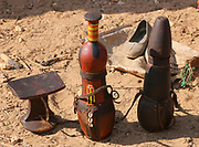 Samburu Maasai handcrafts on display. Samburu Maasai is an ethnic group of semi-nomadic people Photographed in Samburu, Kenya