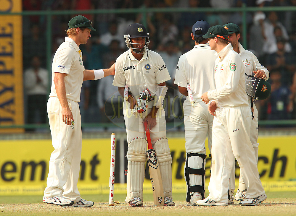 Players shake hands after the match during day 3 of the 4th Test Match between India and Australia held at the Feroz Shah Kotla stadium in Delhi on the 24th March 2013..Photo by Ron Gaunt/BCCI/SPORTZPICS ..Use of this image is subject to the terms and conditions as outlined by the BCCI. These terms can be found by following this link:..http://www.sportzpics.co.za/image/I0000SoRagM2cIEc
