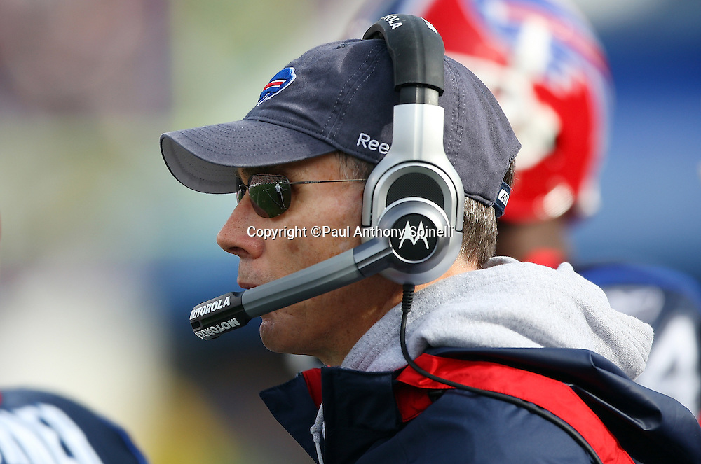 Buffalo Bills Head Coach Dick Jauron looks on during the NFL football game against the Houston Texans, November 1, 2009 in Orchard Park, New York. The Texans won the game 31-10. (©Paul Anthony Spinelli)