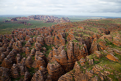 Wet season aerial view of the Bungle Bungles in Purnululu National Park.