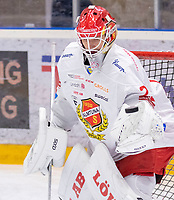 2019-12-14 | Umeå, Sweden: Almtuna (25) Jesper Eliasson warming up before matchstart in HockeyAllsvenskan during the game  between Björklöven and Almtuna at A3 Arena ( Photo by: Michael Lundström | Swe Press Photo )<br /> <br /> Keywords: Umeå, Hockey, HockeyAllsvenskan, A3 Arena, Björklöven, Almtuna, mlba191214