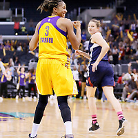 03 August 2014: Los Angeles Sparks forward/center Candace Parker (3) reacts during the Los Angeles Sparks 70-69 victory over the Connecticut Sun, at the Staples Center, Los Angeles, California, USA.