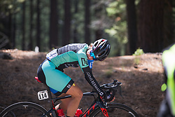 Liza Rachetto (USA) of Hagens-Berman Supermint Cycling Team checks the peloton's distance on Stage 2 of the Amgen Tour of California - a 108 km road race, starting and finishing in South Lake Tahoe on May 18, 2018, in California, United States. (Photo by Balint Hamvas/Velofocus.com)