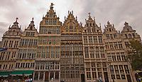 Grote Markt building panorama in Antwerp, Belgium