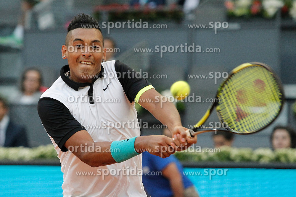 06.05.2015, Caja Magica, Madrid, ESP, ATP Tour, Mutua Madrid Open, im Bild Nick Kyrgios from Australia // during the Madrid Open of ATP World Tour at the Caja Magica in Madrid, Spain on 2015/05/06. EXPA Pictures &copy; 2015, PhotoCredit: EXPA/ Alterphotos/ Victor Blanco<br /> <br /> *****ATTENTION - OUT of ESP, SUI*****