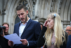 Connie Yates and Chris Gard decided to withdraw the legal battle for their son Charlie treatment.  Charlie's supporters arrived at the court with hope that the judge would award in the parent favour. They were shocked and upset after hearing the sad news that all was in vain.  Chris Gard spoke to the world media while Connie Yates listened and looked at her husband at times - London  <br />