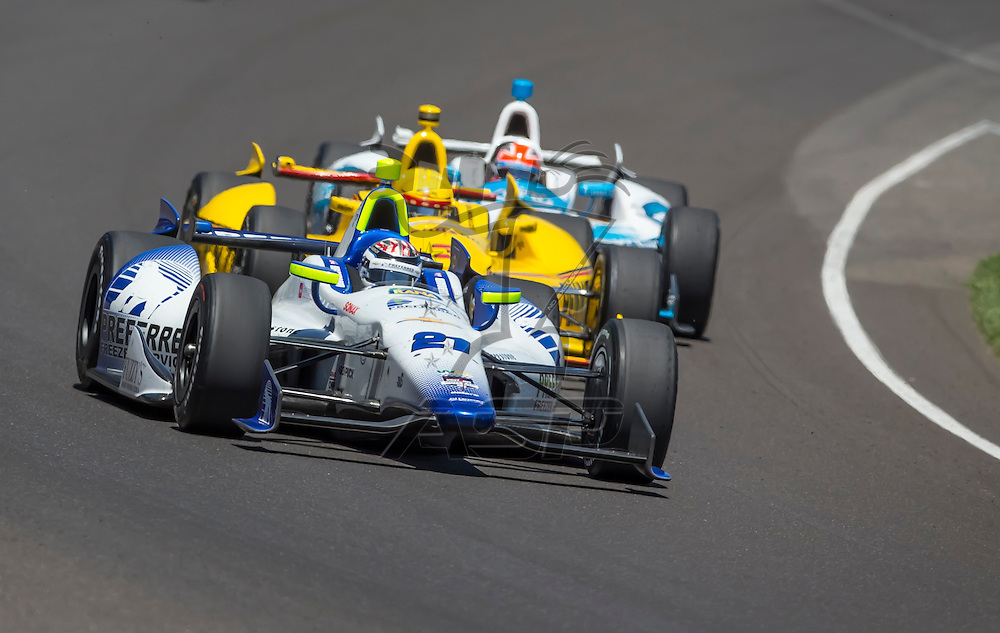 Indianapolis, IN - May 25, 2014:  Indy driver, Jaques Lazier (21), runs the 98th annual Indianapolis 500 at the Indianapolis Motor Speedway in Indianapolis, IN.  <br /> <br /> MANDATORY PHOTO CREDIT:  Walter G. Arce, Sr. KBI/ActionSportsInc.com