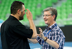 Boris Denic and Franjo Bobinac after the handball match between National teams of Slovenia and Ukraine of 2012 EHF Men's European Championship Play-off, on June 12, 2011 in  Arena Stozice, Ljubljana, Slovenia. Slovenia defeated Ukraine 43-32 and qualified to EURO Serbia 2012 (Photo By Vid Ponikvar / Sportida.com)