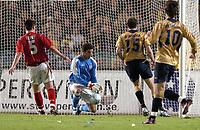 Photo: Richard Lane.<br /> Sweden v England. International Friendly. 31/03/2004.<br /> David James makes a close range save.