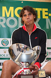 MONTE-CARLO, MONACO - Sunday, April 18, 2010: Rafael Nadal (ESP) during a press conference following his 6-0, 6-1 Men's Singles Final victory on day seven of the ATP Masters Series Monte-Carlo at the Monte-Carlo Country Club. (Photo by David Rawcliffe/Propaganda)