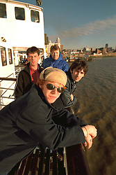 LIVERPOOL, ENGLAND - Liverpool band Space photographed on a Mersey Ferry in Liverpool. Andy Parle, Franny Griffiths, Tommy Scott, Jamie Murphy. (Pic by David Rawcliffe/Propaganda)