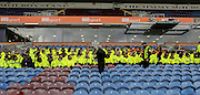 Stewards getting briefed during the Sky Bet Championship match between Burnley and Blackburn Rovers at Turf Moor, Burnley, England on 5 March 2016. Photo by Simon Davies.