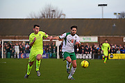 Havant & Waterlooville Dan Strugnell (2) chases down  the ball during the Ryman Premier League match between Bognor Regis Town and Havant & Waterlooville FC at Nyewood Lane, Bognor, United Kingdom on 26 December 2016. Photo by Jon Bromley.