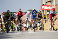 July 10, 2018 - Sarzeau, FRANCE - 180710 Fernando Gaviria of Quick-Step Floors cross the finish line in front of Peter Sagan of Bora–Hansgrohe, André Greipel of Lotto–Soudal, Alexander Kristoff of UAE Team Emirates, Dylan Groenewegen of Team LottoNL–Jumbo and Marcel Kittel of Team Katusha–Alpecin during stage four of Tour de Francebetween La Baule and Sarzeau on July 10, 2018 in Sarzeau. .Photo: Fredrik Varfjell / BILDBYRÃ…N / kod FV / 150118 (Credit Image: © Fredrik Varfjell/Bildbyran via ZUMA Press)