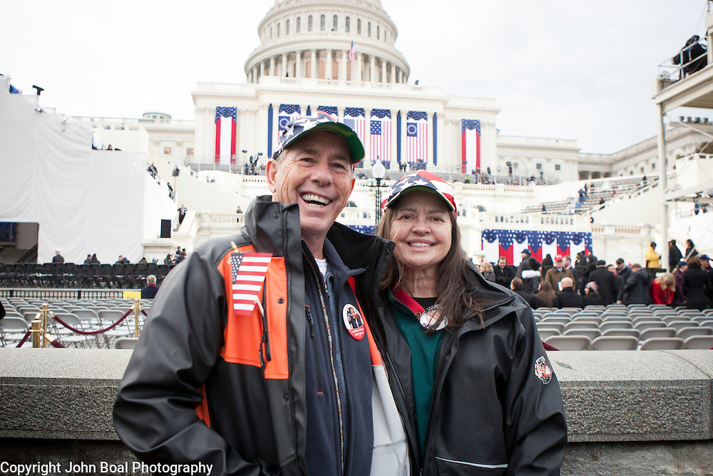 "Jeff and Gail Torrence traveled from Atlanta, GA, to attend the the Inauguration of Donald Trump as the 45th President of the United States, January 20, 2017.  When asked about their hopes for the new Trump administration, they replied that they hoped Trump would, ""...bring jobs, balance the budget and run [the government] like a business..."".  They also expressed optimism that he ""...doesn't have to answer to anyone..."" based on his ability to mostly self-fund the campaign.  John Boal Photography"