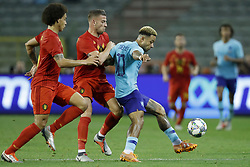 (L-R) Axel Witsel of Belgium, Toby Alderweireld of Belgium, Memphis Depay of Holland during the International friendly match between Belgium and The Netherlands at the King Baudouin Stadium on October 16, 2018  in Brussels, Belgium
