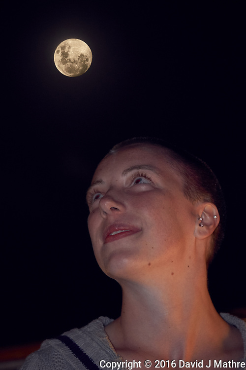 Brooke Viewing the Moon. Image taken with a Fuji X-T1 camera and 55-200 mm VR lens