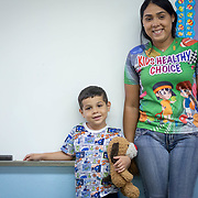 JULY 20, 2018---YABUCOA, PUERTO RICO----<br /> Shaina Ortega 26, with her son Keydiel Vasquez, 5, holding his teddy bear &quot;Osito&quot;  in a classroom of the Marta Sanchez Alverio school he attends. <br /> (Photo by Angel Valentin/Freelance)
