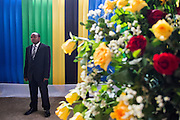 Dar es Salaam, Tanzania - 10/30/15 - A security guard from the Prime Minister's office waits for dignitaries to arrive at the official announcement ceremony for president-elect John Magufuli in Dar es Salaam, Tanzania on October 30.  Photo by Daniel Hayduk