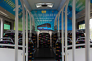 Inside one of Nottingham's zero emissions Ecolink buses in Nottingham, Nottinghamshire, United Kingdom. The electric buses are part of the City Council's campaign to reduce noise and air pollution in the city centre, while still providing accessible public transport.  (photo by Andrew Aitchison / In pictures via Getty Images)