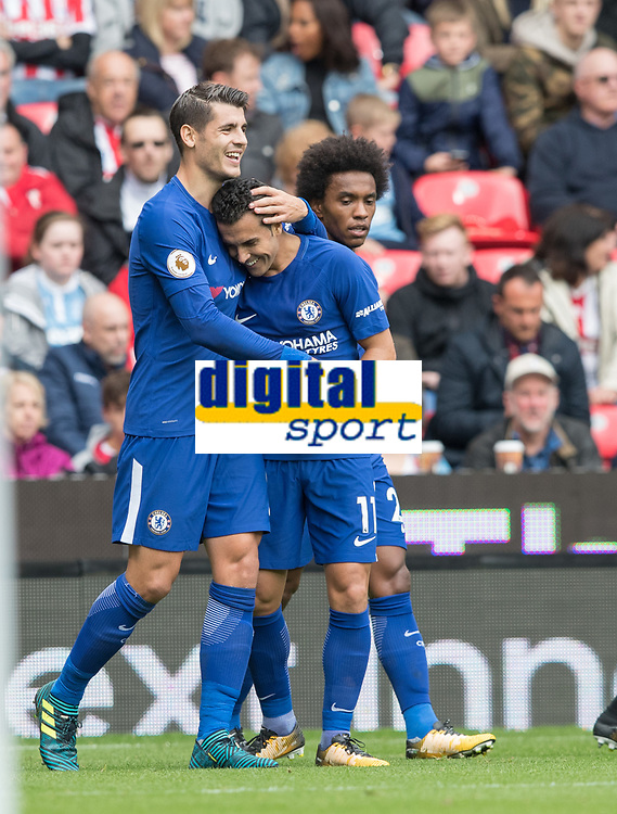 Football - 2017 / 2018 Premier League - Stoke City vs. Chelsea<br /> <br /> Alvaro Morata of Chelsea celebrates at bet365 Stadium.<br /> <br /> COLORSPORT