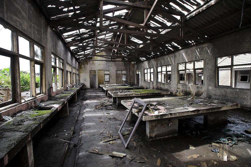 Interior of a school building damaged during a pyroclastic flow, Kepuharjo, Cangkringan, nr Yogyakarta, Java, Indonesia.