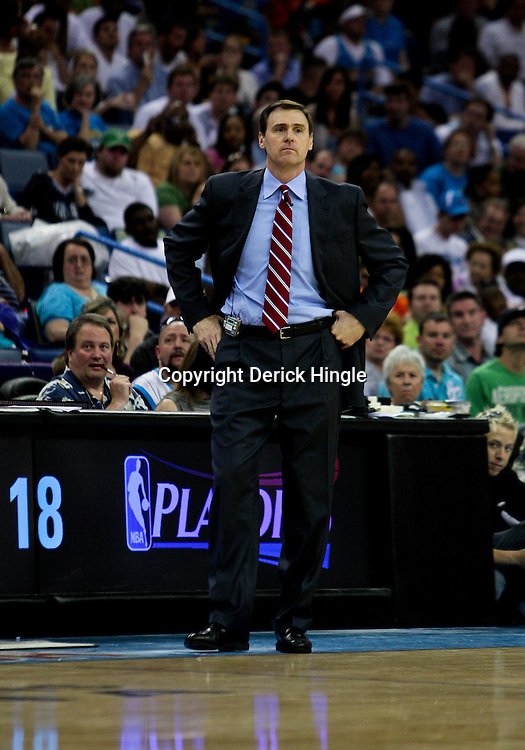 12 April 2009: Dallas Mavericks coach Rick Carlisle watches his team during a 102-92 victory by the New Orleans Hornets over the Dallas Mavericks on Easter Sunday at the New Orleans Arena in New Orleans, Louisiana.