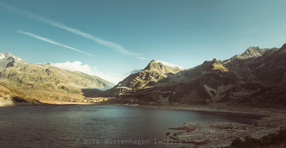 Blick auf Lago di Spluga, Splügenpass, Italien