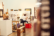 Alberto Godoy works on his rendition of The Last Supper at his studio in Houston, TX.<br /> <br /> Nathan Lindstrom Photography<br /> <br /> ©2016 Nathan Lindstrom