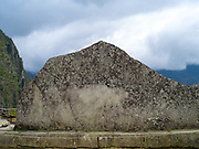 View of the Sacred Rock at the Incan ruins of Machu Picchu, near Aguas Calientes, Peru.