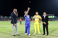 Rajasthan Royals captain Rahul Dravid and Chennai Super Kings captain MS Dhoni at the toss during the first semi-final match of the Karbonn Smart Champions League T20 (CLT20) 2013  between The Rajasthan Royals and the Chennai Superkings held at the Sawai Mansingh Stadium in Jaipur on the 4th October 2013<br /> <br /> Photo by Ron Gaunt-CLT20-SPORTZPICS<br /> <br /> Use of this image is subject to the terms and conditions as outlined by the CLT20. These terms can be found by following this link:<br /> <br /> http://sportzpics.photoshelter.com/image/I0000NmDchxxGVv4