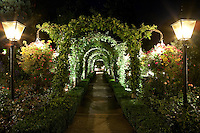 Rose Garden Pathway at Night - The Butchart Gardens, Brentwood Bay, B.C.