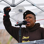 Speaker Shola Mos-Shogbamimu at the March4Women 2020, on 8 March 2020, London, UK.