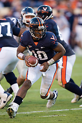 Virginia quarterback Jameel Sewell (10)..The Virginia Cavaliers defeated the Connecticut Huskies 17-16 at Scott Stadium in Charlottesville, VA on October 13, 2007
