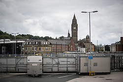 © Licensed to London News Pictures . 29/07/2017 . Rochdale , UK . Police barriers erected in Rochdale Town Centre ahead of the demonstrations . Far-right street protest movement , the English Defence League ( EDL ) , hold a demonstration in Rochdale , opposed by anti-fascists , including Unite Against Fascism ( UAF ) . The EDL say they are demonstrating against the sexual grooming and abuse of English girls by Muslim men in Rochdale and against terrorism across the UK . Photo credit : Joel Goodman/LNP