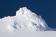 Icy peak near the top of ski field Turoa. Turoa is located on active volcano Mount Ruapehu, New Zealand.