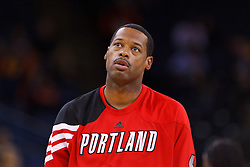 Feb 15, 2012; Oakland, CA, USA; Portland Trail Blazers center Marcus Camby (23) warms up before the game against the Golden State Warriors at Oracle Arena. Portland defeated Golden State 93-91. Mandatory Credit: Jason O. Watson-US PRESSWIRE
