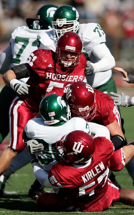 28 October 2006:The Indiana defense as  the Indiana Hoosiers beat the the Michigan State Spartans 46-21 in college football in Bloomington, Ind.
