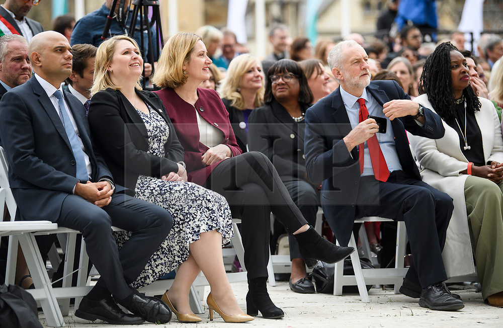 © Licensed to London News Pictures. 24/04/2018. London, UK. L TO R SAJID JAVID, KAREN BRADLEY, AMBER RUDD, TRACEY RABIN, DIANE ABBOTT, JEREMY CORBYN, DAWN BUTLER. The unveiling of a statue of Millicent Fawcett in Parliament Square, London. Dame Millicent, a leading Suffragist and campaigner for equal rights for women, is the first woman to be commemorated with a statue in Parliament Square. Photo credit: Ben Cawthra/LNP