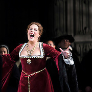 September 23, 2015 - New York, NY : Sondra Radvanovsky, in red, performs as Anna Bolena in a dress rehearsal for Gaetano Donizetti's 'Anne Bolena' at the Metropolitan Opera at Lincoln Center on Wednesday. CREDIT: Karsten Moran for The New York Times