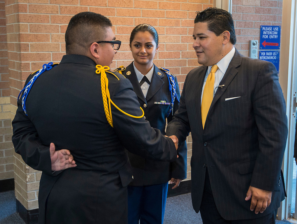 Superintendent Richard Carranza is greeted by JROTC students during a stop of his Listen & Learn Tour of the district at Chavez High School, September 15, 2016.