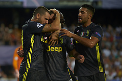 September 19, 2018 - Valencia, Spain - Miralem Pjanic  celebrates goal with teammates Group H match of the UEFA Champions League between Valencia CF and Juventus at Mestalla Stadium on September 19, 2018 in Valencia, Spain. (Credit Image: © Jose Breton/NurPhoto/ZUMA Press)
