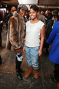 l to r: Stefon Niceley and Asjaneh Moore at the 2010 Mercedes Benz Fall Fashion Week held at Bryant Park on February 12, 2010 in New York City