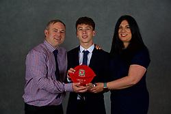 NEWPORT, WALES - Saturday, May 19, 2018: Logan Bowkett and family during the Football Association of Wales Under-16's Caps Presentation at the Celtic Manor Resort. (Pic by David Rawcliffe/Propaganda)